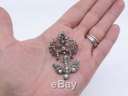 Pendentif Saint Esprit ancien en argent massif et strass bijou regional XIXe