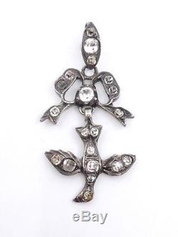 Pendentif ancien Saint Esprit en argent massif et strass bijou regional XIXe