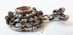 Pendentif argent massif + perles + émail bijou ancien vinaigrette parfum silver