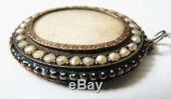 Pendentif argent massif + perles fines bijou ancien 19e siècle porte-photo