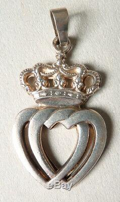 Pendentif argent massif sacré coeur Vendéen bijou ancien sacred heart