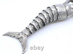 Pendentif articulée ancien en argent massif représentant une sirène