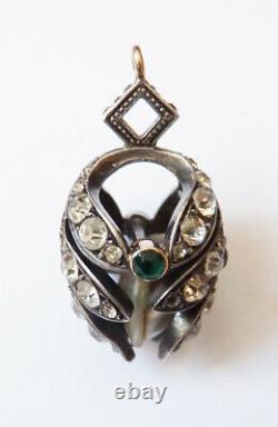 Pendentif en OR 18 k + argent massif + cristal + nacre bijou ancien