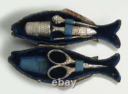 Petit Nécessaire de couture Poisson coffret ancien XIXe French Sewing etui
