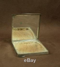 Poudrier Ancien Art Deco En Argent Massif Poincon Minerve Orfevre Henin & Cie