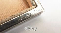 Poudrier ancien signé HERMES Paris argent + rubis Calèche silver powder box