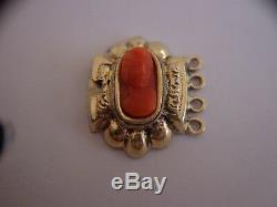 RARE ANCIEN FERMOIR VERMEIL (OR & ARGENT MASSIF) CAMÉE CORAIL bracelet collier