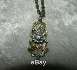 RARE ancien pendentif Art Nouveau argent massif / or et brillants Bijou régional