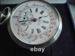 RARE montre gousset ancienne chronographe en argent, fonctionne, 55 mm (2)