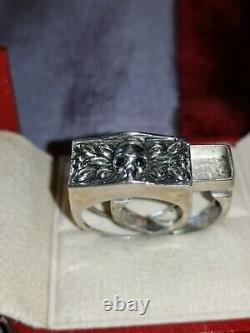 Rare Ancienne Bague A Secret Vanite Aux Yeux De Saphir Taille 59/60 Argent 925
