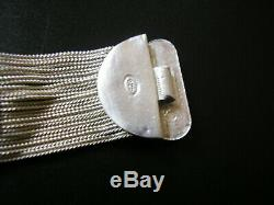Rare! Superbe bracelet ancien en argent massif et émaux 65 gr