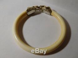 Rare bracelet ancien cygne en argent massif