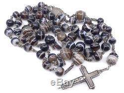 Rare chapelet ancien en argent massif et agate rubanée croix reliquaire XIXeme