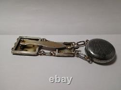 Rare grosse chatelaine de montre ancienne XIXeme argent massif niéllé