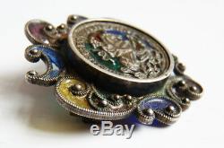 Saint Georges Broche ancienne en ARGENT massif et émail silver enamel brooch