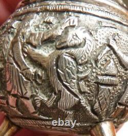 Salière ARGENT massif ancien décor byzantin médiéval saleron griffon silver salt