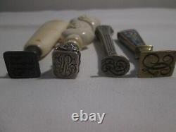 Sceaux cachets anciens en i. E bronze, argent et en bois