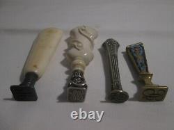 Sceaux cachets anciens en i. E bronze et argent