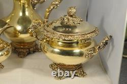 Service Cafe Ancien Argent Massif Vermeil Antique Gilted Solid Silver Coffee Set
