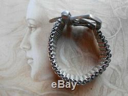 Somptueux bracelet ancien Couture vintage argent massif style H (95,5 gr)