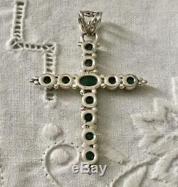 Splendide Grande Ancienne Croix Pendentif Émeraude Et Argent Massif