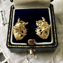Splendides Anciennes Boucles Doreilles Dragon Saphir Jaune Rubis Vermeil Argent