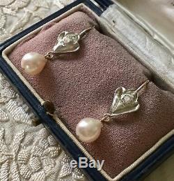 Splendides Anciennes Boucles Doreilles En Or, Argent, Diamant, Perle Baroque