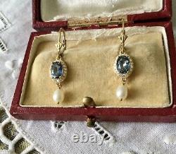 Sublimes Anciennes Boucles Doreilles Topaze Bleue Perle Vermeil Argent