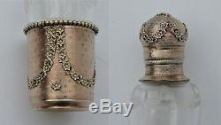 Superbe Ancienne fiole à alcool /mélisse cristal & argent massif vermeil XIXème