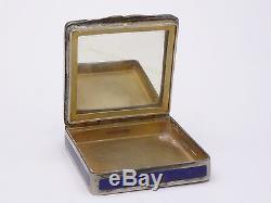 Superbe ancienne boite poudrier en argent massif et email Art Nouveau