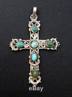 Superbe ancienne croix argent massif et cabochons de turquoise