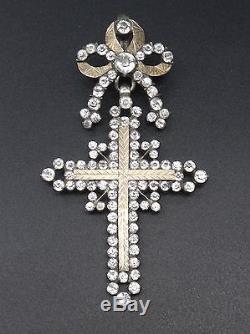 Superbe ancienne croix d'Yvetot argent massif or et strass Normandie XIXe