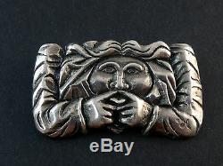 Superbe ancienne vintage broche en argent massif créateur personnage grotesque