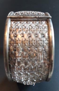 Superbe bracelet ancien ouvrant argent massif, ouvrage dentelle, époque 1900