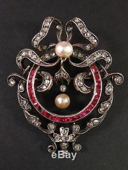 Superbe broche pendentif ancien argent massif or 18k diamants, rubis et perles