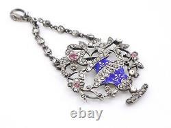 Superbe pendentif ancien en argent massif email et marcassites vase fleuri XIXe