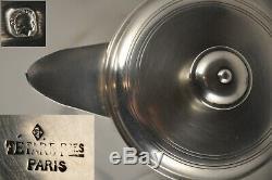 Theiere Verseuse Ancien Art Deco Cafetiere Argent Massif Minerve Tetard Frs 590g