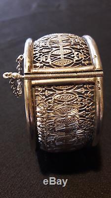 Très beau bracelet ancien ouvrant argent massif, ouvrage dentelle, époque 1900