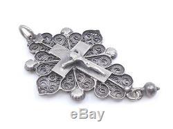 Très belle croix boulonnaise ancienne en argent massif bijou régional XIXeme