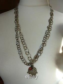 Tunisie rihanna khamsa ancien argent 178 cm corail berbère Tribal necklace